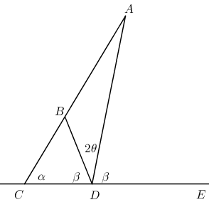 AC meets CE at C, DB meets AC at B, AD meets CE at D, angles labelled as described in question